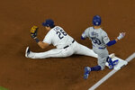 Tampa Bay Rays first baseman Ji-Man Choi forces Los Angeles Dodgers' Mookie Betts out at first during the first inning in Game 3 of the baseball World Series Friday, Oct. 23, 2020, in Arlington, Texas. (AP Photo/David J. Phillip)