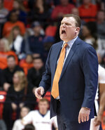 Illinois coach Brad Underwood shouts during the first half of the team's NCAA college basketball game in Champaign, Ill., Thursday, March 7, 2019. (AP Photo/Stephen Haas)