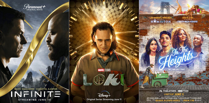 """This combination of images shows promotional art for, from left, """"Infinite,"""" a film streaming June 10 on Paramount Plus, """"Loki,"""" a series streaming June 11 on Disney Plus and """"In the Heights,"""" a film both in theaters and streaming on HBO Max, beginning Friday, June 11. (Paramount+/Disney+/HBO Max via AP)"""