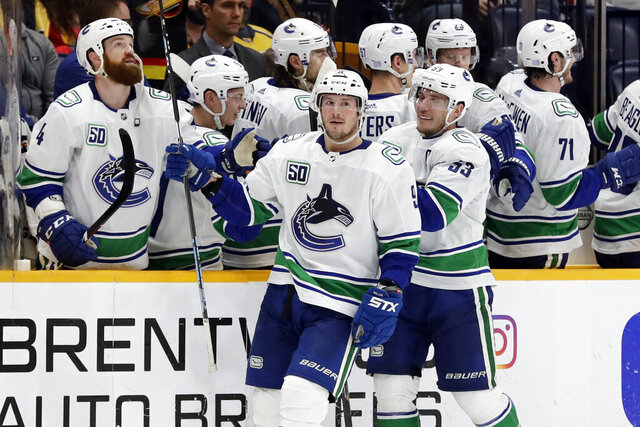 Vancouver Canucks center J.T. Miller (9) and center Bo Horvat (53) celebrate after Miller scored a goal against the Nashville Predators in the second period of an NHL hockey game Thursday, Nov. 21, 2019, in Nashville, Tenn. (AP Photo/Mark Humphrey)