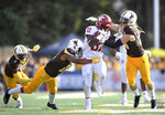 Washington State running back James Williams (32) carries against Wyoming during an NCAA college football game Saturday, Sept. 1, 2018, in Laramie, Wyo. (Tyler Tjomsland/The Spokesman-Review via AP)