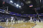 Providence's A.J. Reeves (10) shoots over Seton Hall's Jared Rhoden (14) during the first half of an NCAA college basketball game Wednesday, Jan. 22, 2020, in Newark, N.J. (AP Photo/Frank Franklin II)