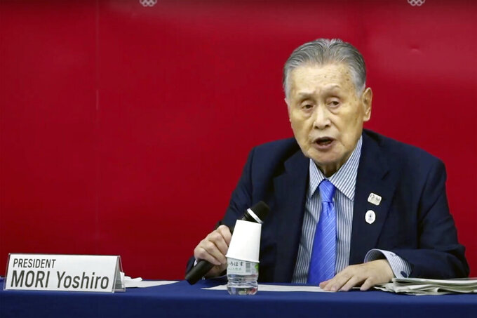 In this image made from video released by Tokyo 2020 Official YouTube Channel, Tokyo 2020 Organizing Committee President Yoshiro Mori, speaks during a press conference in Tokyo, Friday, July 17, 2020. Mori and CEO Toshiro Muto announced the competition schedule for next year's delayed Tokyo Olympics will remain almost identical to the one that would have been used this year. (Courtesy of Tokyo 2020 Official YouTube Channel via AP)