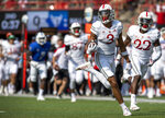 Nebraska wide receiver Samori Toure (3) scores on a second-quarter reception against Buffalo in an NCAA college football game Saturday, Sept. 11, 2021, in Lincoln, Neb. (Francis Gardler/Lincoln Journal Star via AP)