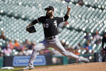 Chicago White Sox pitcher Dallas Keuchel throws against the Detroit Tigers in the first inning of a baseball game in Detroit, Monday, Sept. 27, 2021. (AP Photo/Paul Sancya)