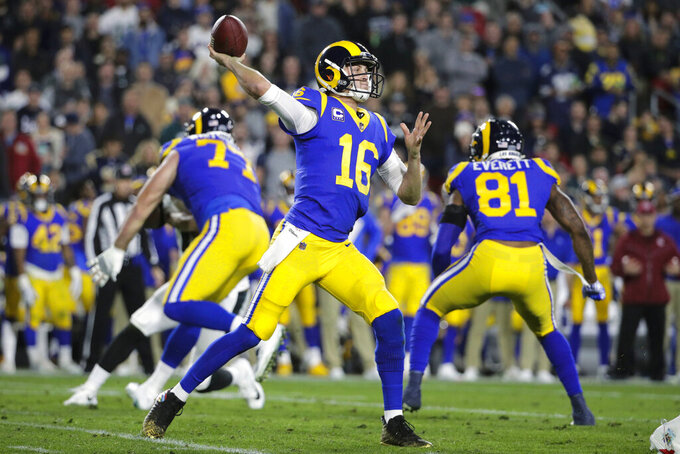 FILE - In this Dec. 16, 2018, file photo, Los Angeles Rams quarterback Jared Goff throws a pass during an NFL football game against the Philadelphia Eagles, in Los Angeles. The Rams and Dallas Cowboys meet in a divisional playoff game on Saturday, Jan. 12, 2019.(AP Photo/Jae C. Hong, File)
