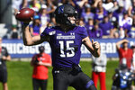 Northwestern quarterback Hunter Johnson (15) looks to pass against UNLV during the first half of an NCAA college football game, Saturday, Sept. 14, 2019, in Evanston, Ill. (AP Photo/Matt Marton)