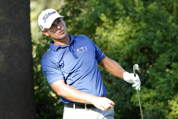 Charles Howell III hits from the 12th tee during the first round of the BMW Championship golf tournament, Thursday, Aug. 27, 2020, at Olympia Fields Country Club in Olympia Fields, Ill. (AP Photo/Charles Rex Arbogast)