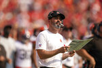Cleveland Browns head coach Kevin Stefanski watches from the sidelines during the first half of an NFL football game against the Kansas City Chiefs Sunday, Sept. 12, 2021, in Kansas City, Mo. (AP Photo/Charlie Riedel)