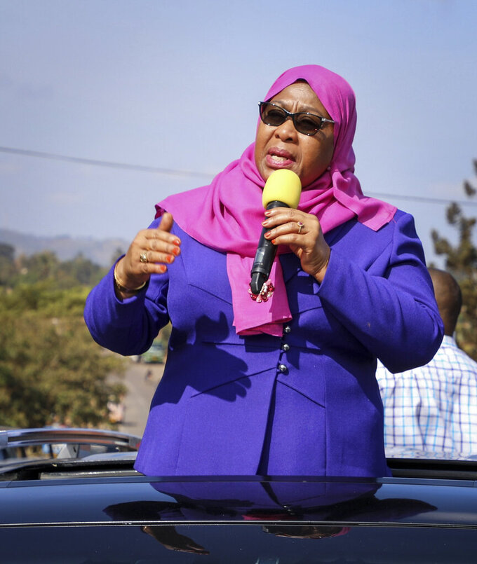Tanzania's Vice President Samia Suluhu speaks during a tour of the Tanga region of Tanzania Tuesday, March 16, 2021. Vice President Suluhu announced Wednesday, March 17, 2021 that President John Magufuli of Tanzania, a prominent COVID-19 skeptic whose populist rule often cast his country in a harsh international spotlight, has died aged 61 of heart failure. (AP Photo)