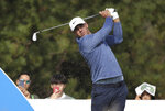 Brooks Koepka of the United States watches his shot on the 4th hole during the first round of the CJ Cup PGA golf tournament at Nine Bridges on Jeju Island, South Korea, Thursday, Oct. 17, 2019.(Park Ji-ho/Yonhap via AP)
