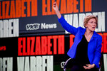 Democratic presidential candidate Sen. Elizabeth Warren, D-Mass., speaks at the Brown & Black Forum at the Iowa Events Center, Monday, Jan. 20, 2020, in Des Moines, Iowa. (AP Photo/Andrew Harnik)