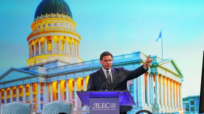 Florida Gov. Ron DeSantis speaks during the American Legislative Exchange Council Wednesday, July 28, 2021, in Salt Lake City. (AP Photo/Rick Bowmer)