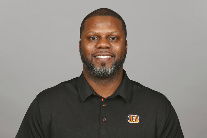 FILE - This is April 22, 2019, file photo showing Daronte Jones of the Cincinnati Bengals NFL football team. Jones is the new defensive coordinator for the LSU NCAA college football team. Jones had an introductory media conference on Tuesday, Feb. 2, 2021. (AP Photo/File)