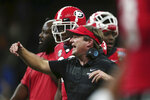 Georgia coach Kirby Smart calls out from the sideline during the first half of the team's Sugar Bowl NCAA college football game against Texas in New Orleans, Tuesday, Jan. 1, 2019. (AP Photo/Rusty Costanza)