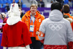 Dutch King Willem-Alexander, center, attends the podium ceremony after the men's 1,500 meters speedskating race at the Gangneung Oval at the 2018 Winter Olympics in Gangneung, South Korea, Tuesday, Feb. 13, 2018. (AP Photo/John Locher)