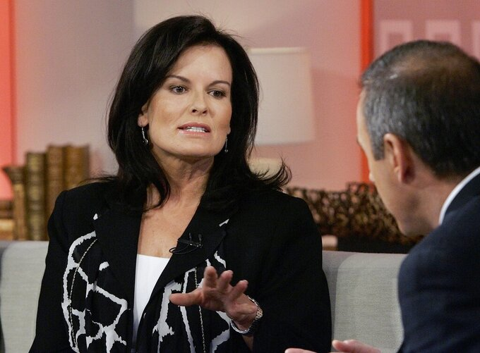 "FILE - In this April 11, 2007, file photo, Denise Brown, sister of murder victim Nicole Brown Simpson, is interviewed by NBC ""Today"" show co-host Matt Lauer in New York. Denise Brown has remained the family's most outspoken critic of Simpson, although like the Goldman family she refuses to speak his name. The former model has become a victims' rights advocate and a speaker, urging both women and men to leave abusive relationships. (AP Photo/Richard Drew, File)"