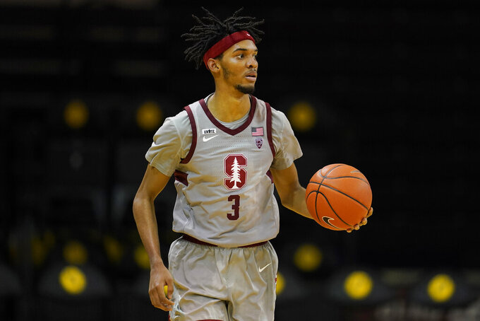 Stanford forward Ziaire Williams (3) dribbles the ball upcourt against Washington State during the second half of an NCAA college basketball game in Santa Cruz, Calif., Saturday, Jan. 9, 2021. (AP Photo/Jeff Chiu)