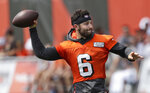 Cleveland Browns quarterback Baker Mayfield throws during practice at the NFL football team's training camp facility, Friday, July 26, 2019, in Berea, Ohio. (AP Photo/Tony Dejak)