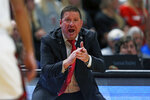 Texas Tech coach Chris Beard yells out to his players during the first half of an NCAA college basketball game against Tennessee State, Thursday, Nov. 21, 2019, in Lubbock, Texas. (AP Photo/Brad Tollefson)