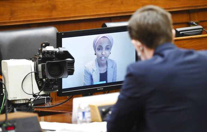 Marik String, Acting Legal Adviser for the State Department, is questioned via video by Rep. Ilhan Omar, D-Minn., during a House Committee on Foreign Affairs hearing looking into the firing of State Department Inspector General Steven Linick, Wednesday, Sept. 16, 2020 on Capitol Hill in Washington. (Kevin Dietsch/Pool via AP)