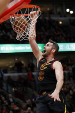 Cleveland Cavaliers forward Kevin Love dunks against the Chicago Bulls during the second half of an NBA basketball game in Chicago, Saturday, Jan. 18, 2020. The Bulls won 118-116. (AP Photo/Nam Y. Huh)