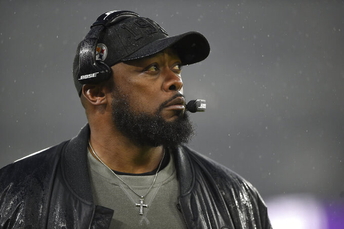 Pittsburgh Steelers head coach Mike Tomlin looks on during the first half of an NFL football game against the Baltimore Ravens, Sunday, Dec. 29, 2019, in Baltimore. (AP Photo/Gail Burton)
