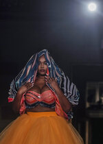 The latest fashion from Christian Siriano is modeled during Fashion Week, Tuesday, Sept. 7, 2021, in New York. (AP Photo/Bebeto Matthews)